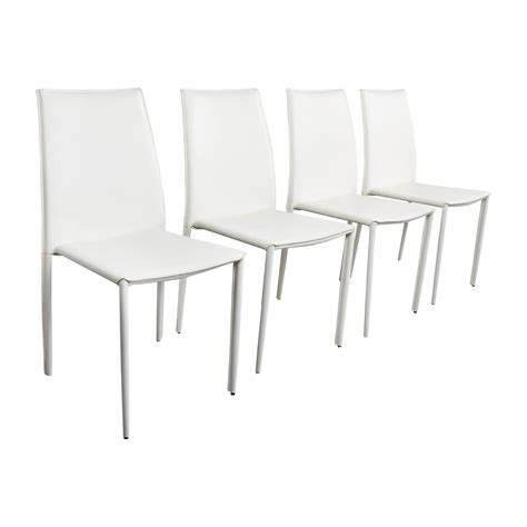 allmodern  modern white leather dining chairs