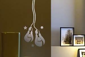 pochoir motif ampoule peinture relief dans salon maison deco With pochoir peinture murale deco