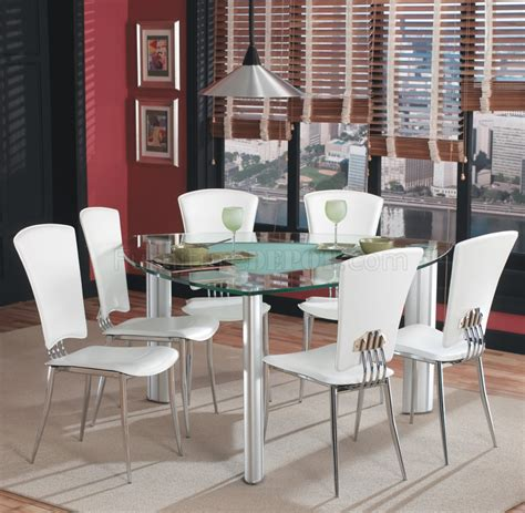 triangle glass top modern dining set pc wwhite chairs