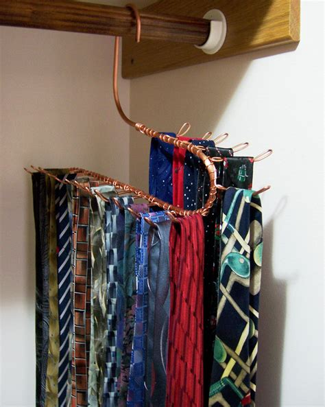 tie rack jewelry hanger closet storage hook copper