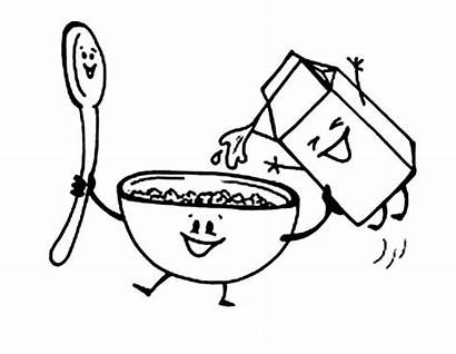Cereal Coloring Breakfast Pages Clipart Milk Bowl