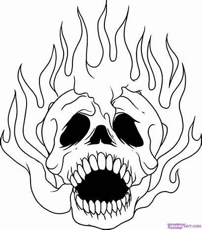 Cool Drawings Skulls Skull Drawing Clipart Fire