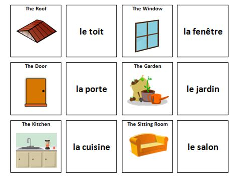 house french vocabulary card sort teaching resources