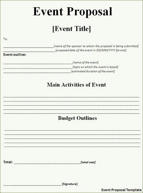 event proposal template  word templatesfree word templates