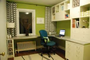 green and white home office present large l shaped desk