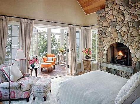 Bloombety  Cottage Style Bedrooms Ideas With Fireplace