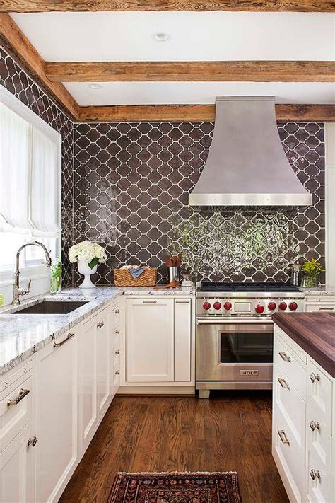 kitchen  brown moroccan tiles backsplash