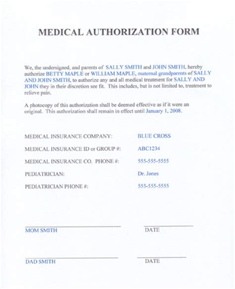 free printable medical consent form for grandparents medical release form for grandparents templates free