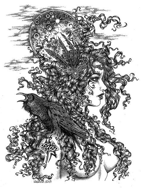 """The Morrígan - Goddess with Raven"" T-shirt by LKBurke29"