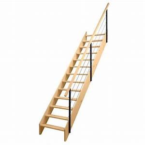Rampe Escalier Lapeyre : escalier droit uno sapin massif rampe c bles lapeyre id e d co ~ Carolinahurricanesstore.com Idées de Décoration