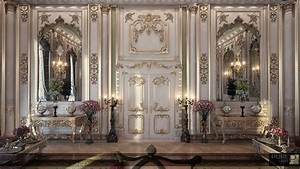 gold and white paneling Interior Design Ideas