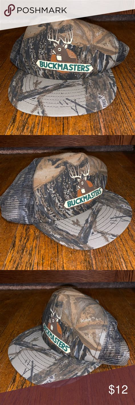 vtg buckmasters camo mesh trucker hat   usa mesh