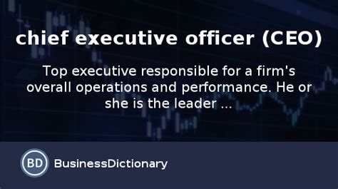 What Is Chief Executive Officer (ceo)? Definition And