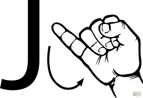 Asl Sign Language Letter J Coloring Page