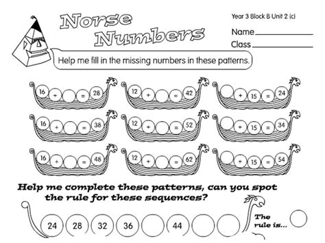 norse number patterns a year 3 number patterns