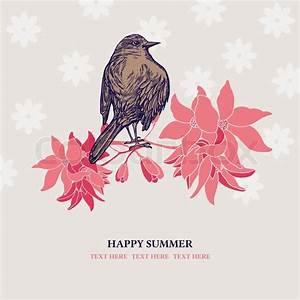 Verspielter Floraler Design Stil : vintage gru karten sommer und fr hling retro stil einladung wundersch nen zierpflanzen ~ Watch28wear.com Haus und Dekorationen