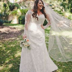 plus size elegant sheer long sleeves wedding dress 2016 With plus size trumpet wedding dress