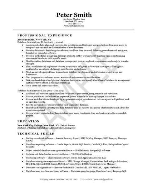 Resume Database by Database Administrator Resume Exle