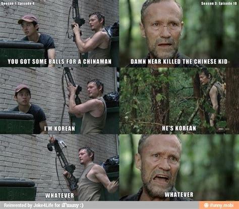 Best Walking Dead Memes - the walking dead glenn stephen yeun daryl dixon norman reedus merle dixon michael rooker