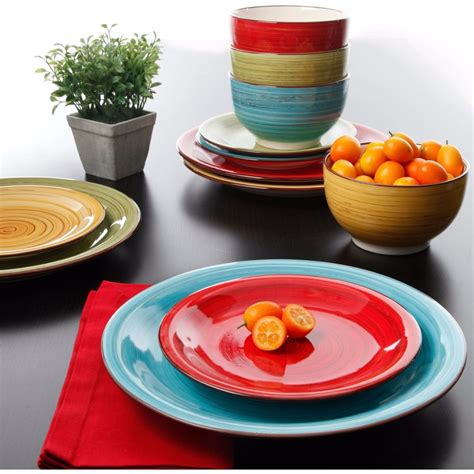 colorful dishes colorful dinnerware set kitchen dinner ware service multi color 12 pc ceramic ebay