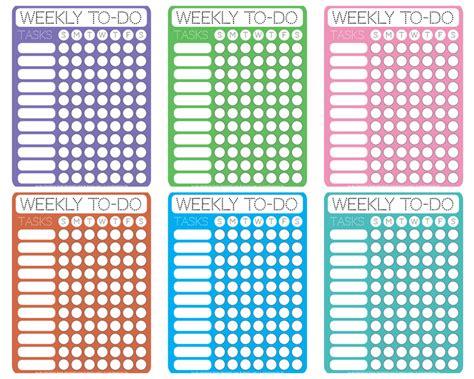 dotty printable weekly   checklists  printable