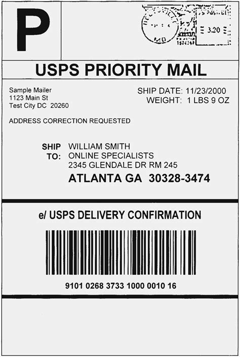 ups shipping label template word