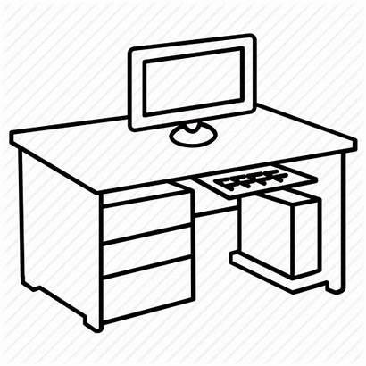 Desk Computer Office Workstation Furniture Clipart Table