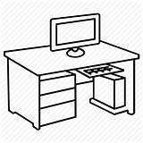 Desk Computer Office Table Workstation Furniture Clipart Study Icon Drawing Coloring Ergonomic Chair Line Basic Oval Icons Sketch Getdrawings Armchair sketch template