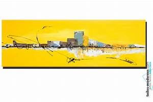 Tableau jaune grand format panoramique XXL Art abstrait déco tendancielle