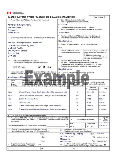canada customs invoice instructions invoice template ideas