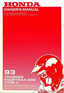 1993 Honda Trx200d Fourtrax 200 Type Ii Atv Owners Manual