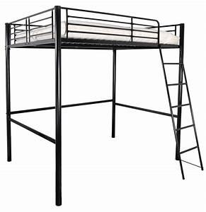 Lit à étage : lit mezzanine m tal noir 140 lizza ~ Teatrodelosmanantiales.com Idées de Décoration