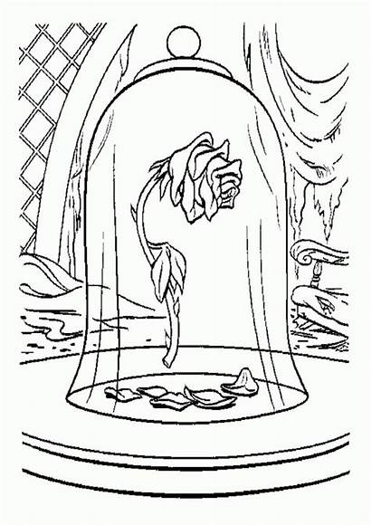 Beast Coloring Beauty Pages Rose Drawing Disney