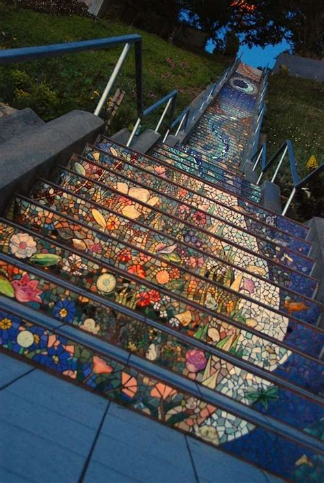 16th avenue tiled steps in san francisco artistic mosaic stairs