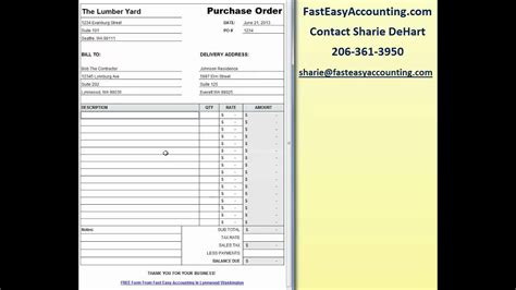 contractor purchase order template  excel