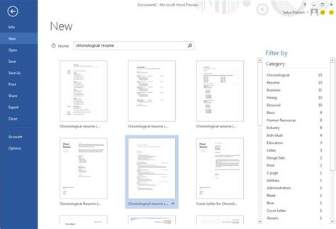 Resume Template Word 2013 by Use Chronological Resume Template In Word 2013