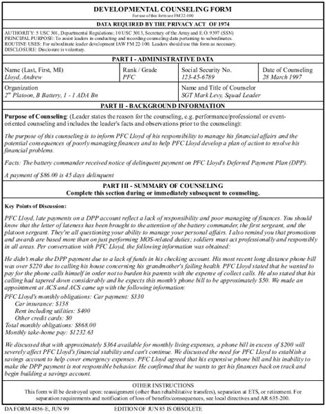 template exle for event oriented counseling armystudyguide