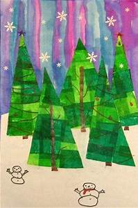 Fourth graders created tissue collaged trees and pasted