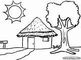 Hut Pages Coloring Tree African Sun Colouring Huts Draw Patterns Simple Drawings Sketch Template Africa Forest Printablecolouringpages Larger Credit Google sketch template