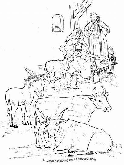 Coloring Jesus Nativity Pages Manger Sheets Christmas