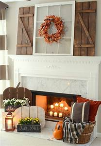 Rustic Fall Mantel with DIY Wood Pumpkins & DIY Barn Wood