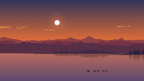 Minimal Anime Wallpaper - 1920x1080 minimal lake sunset laptop hd 1080p hd 4k