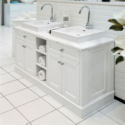 classic white 1500 marble top bathroom vanity at