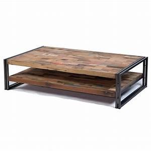 Table Basse Rectangulaire Bois : grande table basse rectangulaire fer et bois de bateau recycl pas cher ~ Teatrodelosmanantiales.com Idées de Décoration