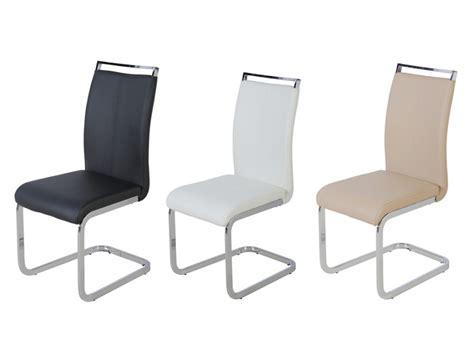 lot 4 chaises lot de 4 chaises en simili noir blanc ou beige