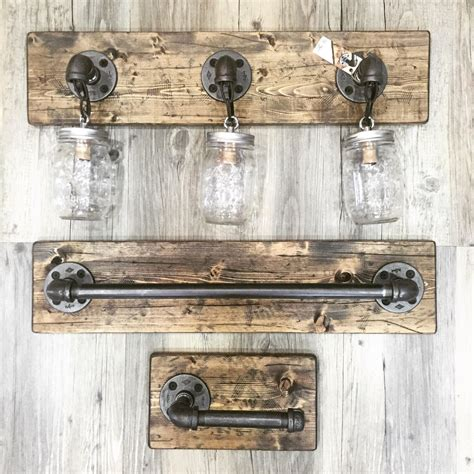 Rustic Bathroom Light Fixtures by Rustic Distressed Bathroom Set Jar Light Rustic