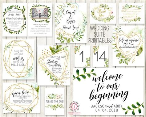 Wedding Suite Greenery Geometric Wedding Invite Invitation
