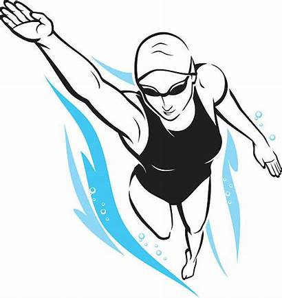 Swimming Freestyle Woman Clipart Vector Clip Illustration