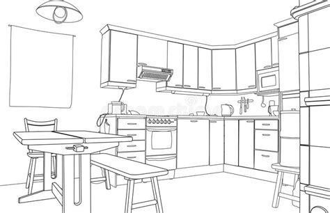 kitchen design sketch kitchen sketch stock vector illustration of outline 1358