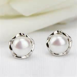 diy button earrings free shipping jewelry pearl stud earrings pearl earings
